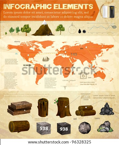 Detail infographic vector set   World Map and Information   Natural resources collection   Vector eps10   Old paper texture - stock vector