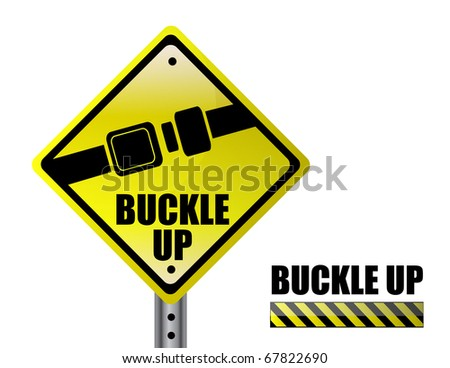 Detail metal buckle up street sign isolated over a white background - stock vector