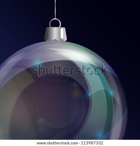 Detail of glass Christmas bauble. EPS10 vector format. - stock vector