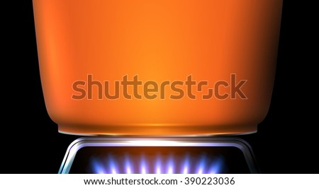 Detail of orange pot on the stove flame - cooking motive from kitchen. Vector illustration. - stock vector
