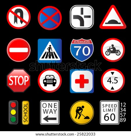 detail traffic collection - symbols & sings - stock vector