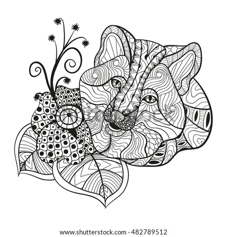 Detail Zentangle Fox For Coloring Pagetattoo T Shirt Design Effect And Logo