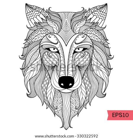 Detail Zentangle Wolf For Coloring Pagetattoo T Shirt Design Effect And Logo