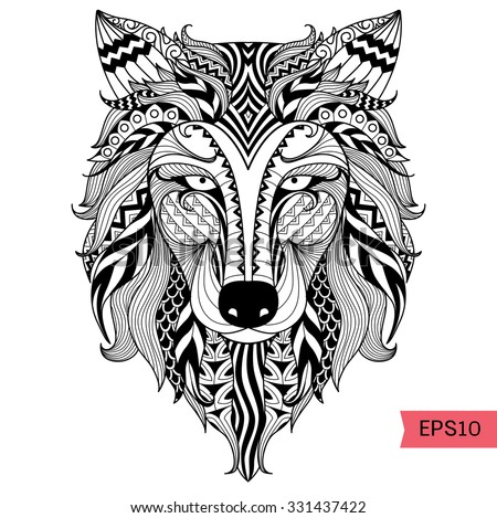 wolf face coloring pages - detail zentangle wolf coloring pagetattoo t stock vector