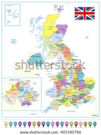 Detailed administrative map of the Great Britain with navigation icons. All elements are separated in editable layers clearly labeled. - stock vector
