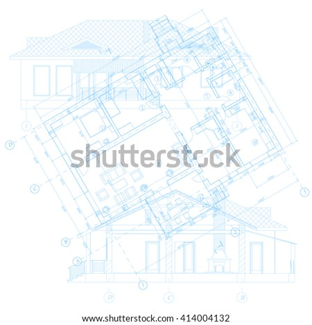 Detailed architectural plan. Vector blueprint. Abstract architectural background.