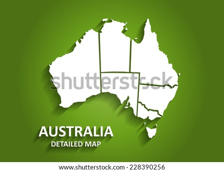 Detailed Australia Map on Green Background with Shadows (EPS10 Vector) - stock vector