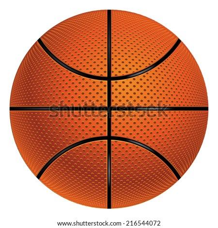 Detailed basketball ball illustration on white background. - stock vector