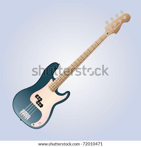 detailed bass guitar vector - stock vector