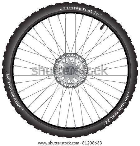Detailed bicycle wheel with brake disk, vector illustration, eps10