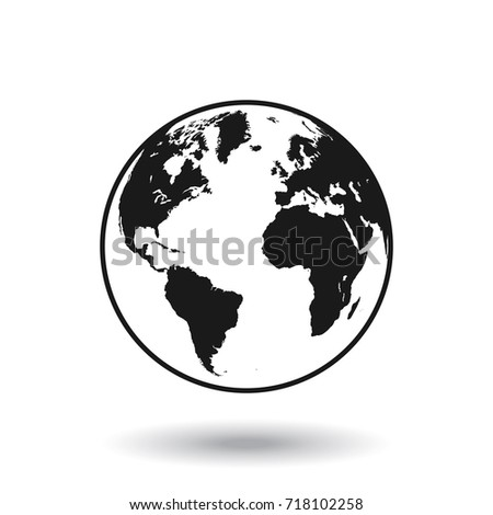Detailed Black And White World Map, Mapped On A Globe, Isolated On White  Background