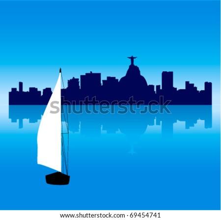 Detailed Black vector Rio de Janeiro silhouette skyline with Sailing ship - stock vector