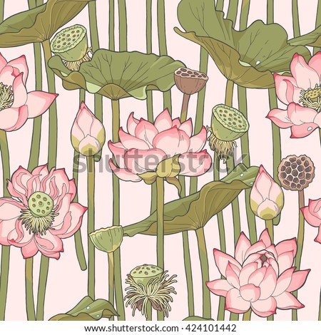 Detailed blooming pink lotus vector seamless background - stock vector