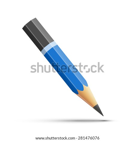 Detailed blue pencil isolated on white background - stock vector