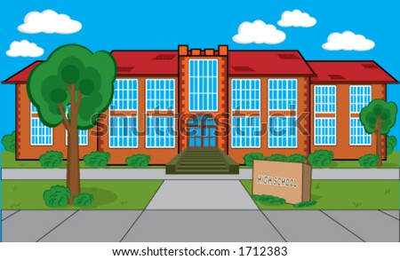 Detailed building with grass, trees, bushes etc. Could be a high school, a college or library. There's a stone plaque in front of the building with editable text. - stock vector