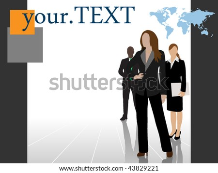 Detailed business team with room for your text - layered - stock vector