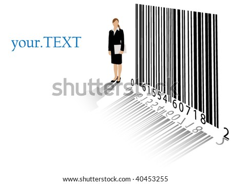 Detailed business woman with bar code and room for your text - layered, no meshes or masks - stock vector