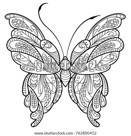 Hand Drawn Butterfly Zentangle Style Inspired Stock Vector