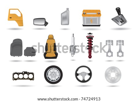 Detailed car parts illustrations set - stock vector