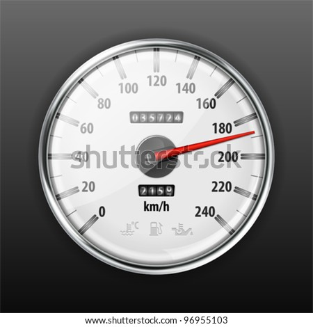 Detailed Car Speedometer with Warning Icons, vector illustration - stock vector
