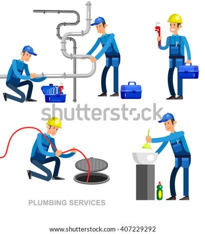detailed character proffesional plumber men set , plumber repair professional, plumber fixing water pipes. Vector plumber set. Illustration plumber character. - stock vector