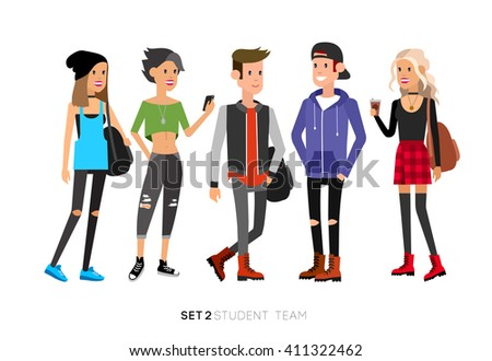 Detailed character students, student Lifestyle, team of young people in street clothes style. Illustration of character student. Vector flat student go to study - stock vector