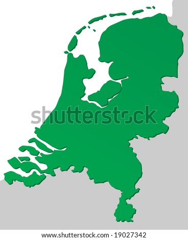 Detailed chart of the Netherlands, Holland - stock vector