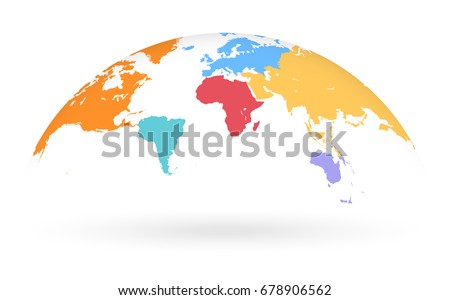 Detailed colored world map different colors stock vector 678906562 detailed colored world map with different colors for each continent mapped on an open gumiabroncs Image collections