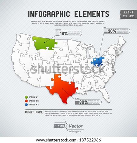 Detailed colorful infographic elements - One state/one puzzle piece - stock vector