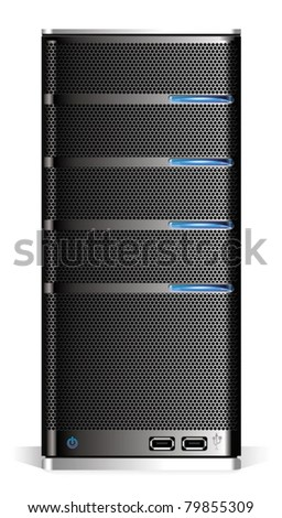 Detailed computer server isolated on white background. - stock vector