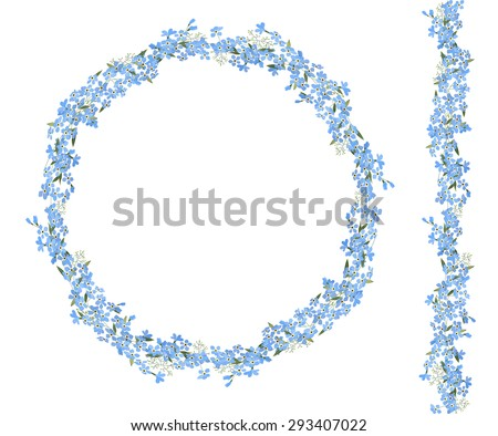 Detailed contour wreath and seamless pattern brush with forget-me-nots isolated on white. Endless horizontal texture for your design - stock vector