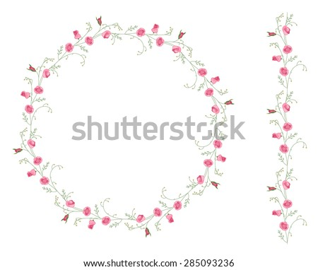Detailed contour wreath with herbs and wild stylized flowers isolated on white. Round frame for your design, greeting cards, wedding announcements, posters.Seamless pattern brush. - stock vector