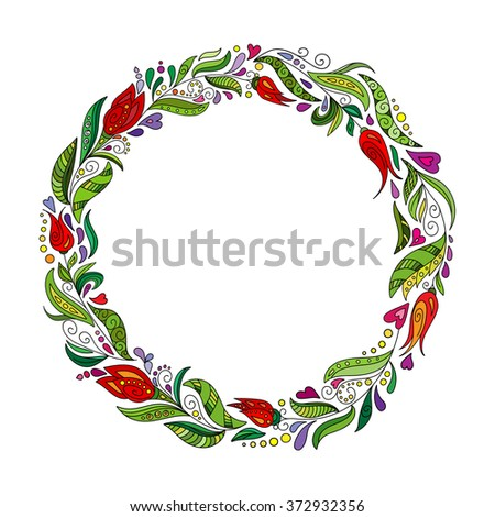 Detailed contour wreath with herbs, tulips and wild leaves isolated on white. Round frame for your design, greeting cards, announcements, posters. - stock vector