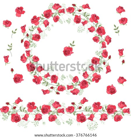 Detailed contour wreath with roses  on white. Round floral frame for your design, greeting cards, wedding announcements, posters.Endless horizontal pattern brush. - stock vector
