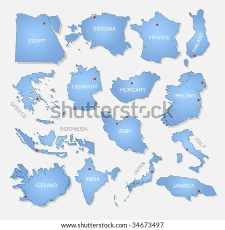 Detailed countries collection. Vector illustration. - stock vector
