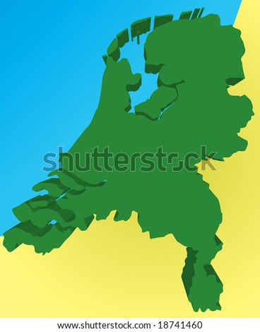 Detailed 3d map of the Netherlands/Holland. Vector - stock vector