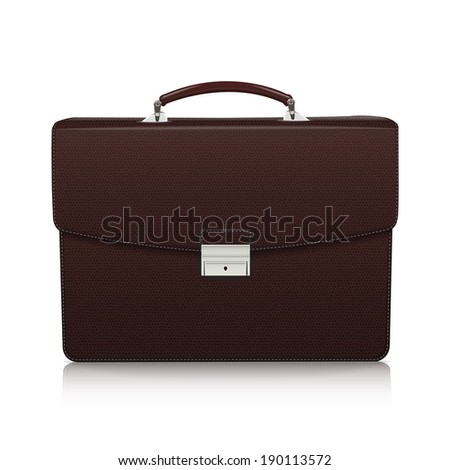 Detailed dark brown briefcase with leather texture isolated on white background. Vector Illustration