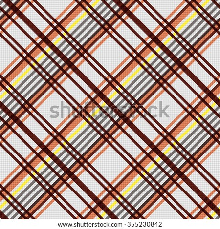 Detailed Diagonal seamless vector pattern as a tartan plaid mainly in beige, brown and yellow colors - stock vector