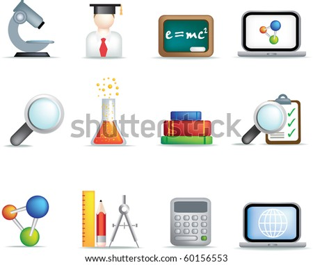 detailed education and science coloured icon set on white background - stock vector