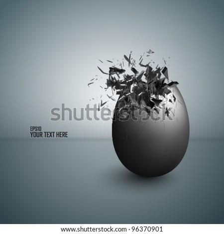 Detailed exploding egg - stock vector
