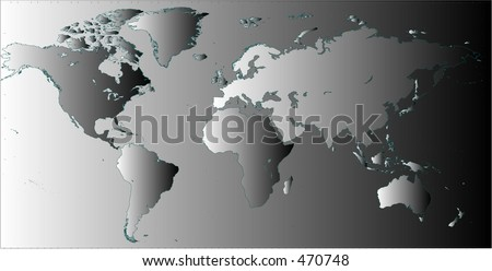 Detailed flat world map in vector, in black and white gradient - stock vector