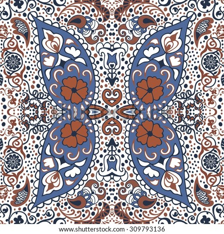 Detailed floral and paisley scarf design.Seamless retro pattern can be used for wallpaper, pattern fills,web page background,surface textures, pillow, scrapbook, textile, indian wedding - stock vector - stock vector