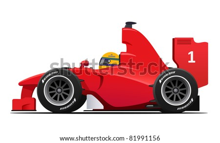 DETAILED Formula 1 Red Race Car - stock vector
