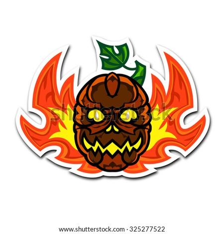 Detailed funny halloween pumpkin faces celebrates Halloween.  - stock vector