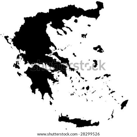 Detailed  Greece map vector outline - stock vector
