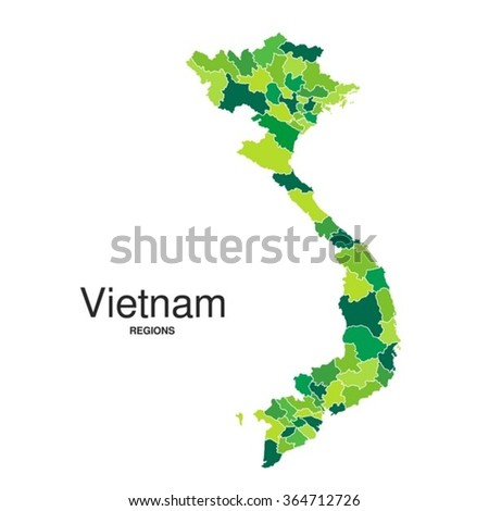 Detailed green map of Vietnam