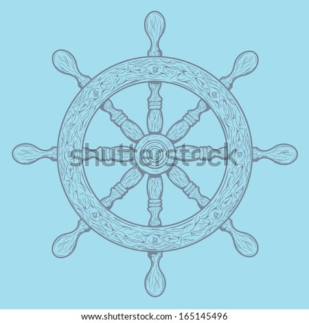Detailed grey outlines nautical rudder isolated on blue background. Ship element. Vector illustration. - stock vector