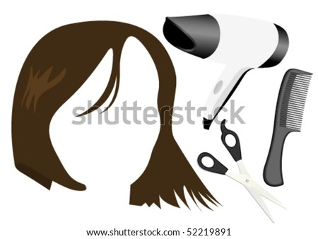 Detailed hair style objects and a woman face - stock vector