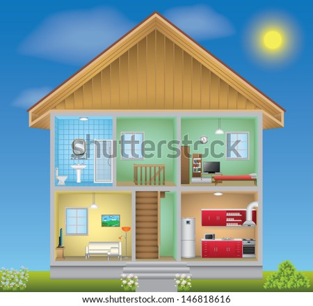 Detailed house interior - stock vector