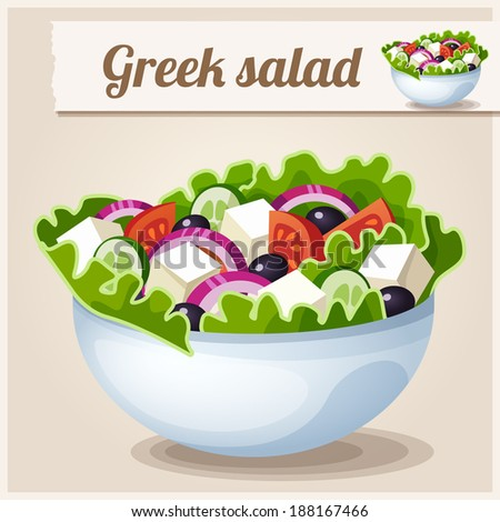 Detailed Icon. Greek salad. - stock vector